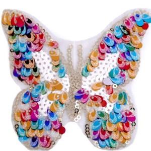 Applikation zum Aufbügeln, Schmetterling mit Pailletten, bunt