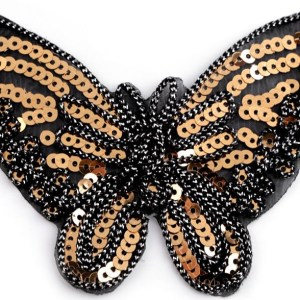 Applikation zum Aufbügeln, Schmetterling mit Pailletten, schwarz