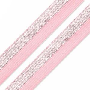 Faltgummi Lurex glänzend, Breite 17 mm, rosa-silber