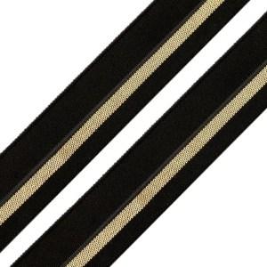 Faltgummi mit Streifen, Breite 20 mm, schwarz-silber