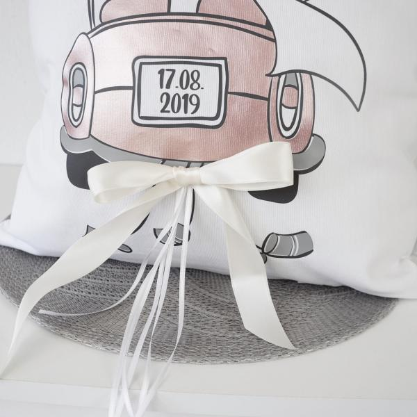 Hochzeitskissen Herzen, Hochzeitskissen, Hochzeit, Hochzeitsgeschenk, Geschenk zur Hochzeit, Geschenkidee zur Hochzeit, Geldgeschenk, Geld schenken zur Hochzeit, Personalisiertes Kissen, Personalisiert
