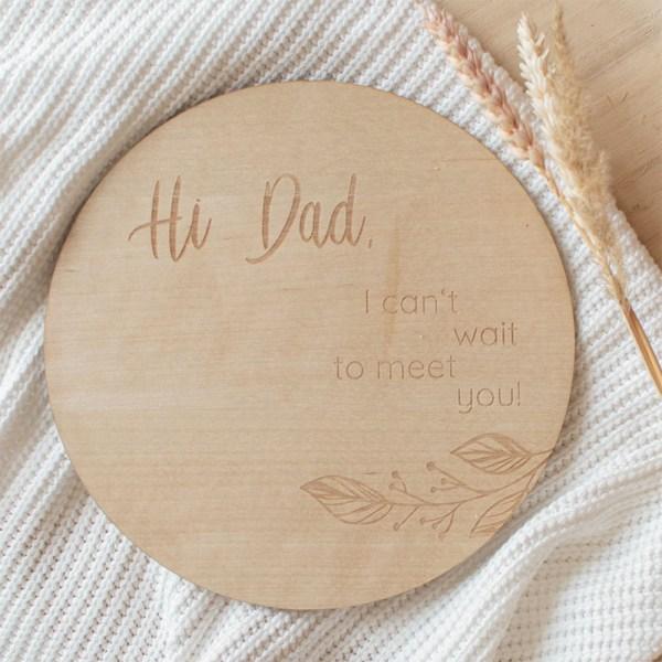 Schwangerschaft, Schwangerschaftsverkündung, Hi Dad, Holzschild, Türschild, Familienname, personalisiert, personalisiertes Holzschild, Familienschild, Familie, Dekoration, Hausdekoration, Wohnungsdekoration