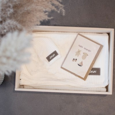 Erinnerungskiste, Geschenkkiste, Holzkiste,Geschenkset, baby, Babybox,, Geschenk zur geburt, Geschenk zur Taufe, Newborn, Kuscheldecke, Babyhaube