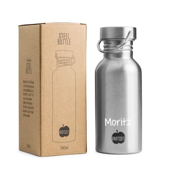Brotzeit, Stofftiger, Trinkflasche, Flasche, Edelstahl, Plastikfrei, BPA frei, schadstofffrei, Edelstahl, Metall
