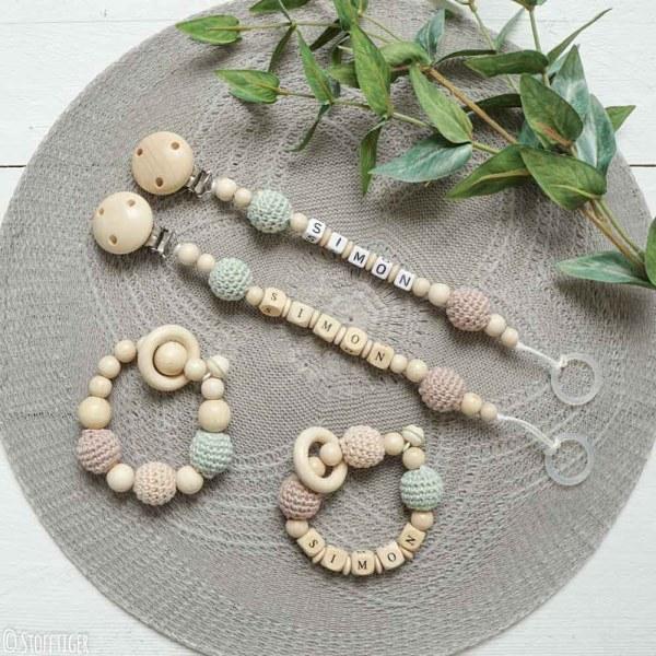 Schnullerkette, Greifling, Personalisierte Geschenk, Geschenkkörbchen zum selbst zusammenstellen
