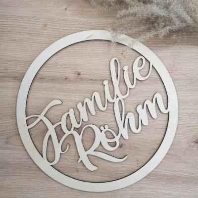 Holzschild, Türschild, Familienname, personalisiert, personalisiertes Holzschild, Familienschild, Familie, Dekoration, Hausdekoration, Wohnungsdekoration