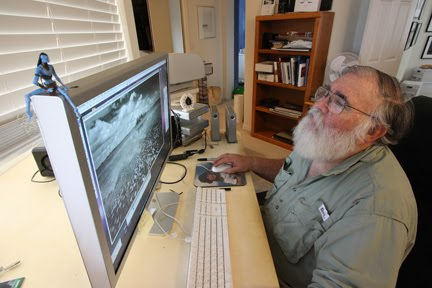Clyde editing a black and white image using Photoshop. Image by Niki Butcher.