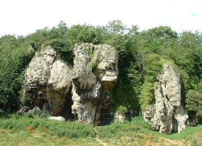 Limestone cliffs and caves on the north side of Creswell Crags