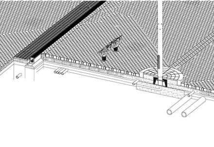 Das Vermeiden dominanter Linien gilt sogar für die Diagonalen selbst: sie durchschneiden nicht einfach einander, sondern sind so gepflastert, dass sie scheinbar ineinander übergehen.