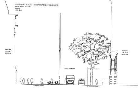 """Naturalmente neanche il concetto di """"Shared Spaces"""" riesce a fare completamente a meno della gestione del traffico. Per questo, la corsia per i pedoni, di larghezza 4 m (nel nostro grafico da sinistra a destra), si distingue chiaramente dalla successiva """"zona di transito"""" con i ciclisti."""