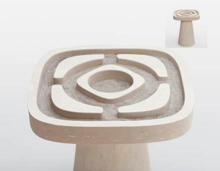 """Em """"Giardino all'Italiana"""" Matteo Ragni inspirou-se no desenho de parques em estilo barroco. O objeto pode ser uma mesinha de café, se preenchido com areia, ou parte de uma praça seca japonesa."""