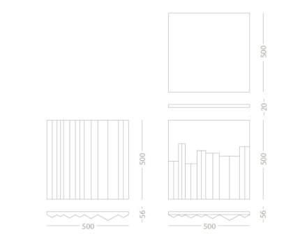 ... linee rette passano sulla superficie. Combinando o anche girando le marmette, si ottengono diverse variazioni del design.