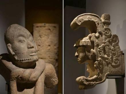 Adolescente de Cumpich (izq.), piedra caliza, Cumpich, Campeche. La Reina de Uxmal' (der.), piedra caliza, Uxmal, Yucatán.