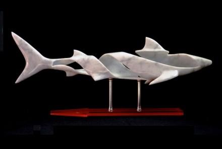 """Humanity"", Carrara marble, stainless steel & plexiglass. 65 x 17 x 25,5 cm."