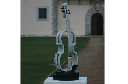 """Culture"", Carrara & Belgium marbles and viola music instrument parts, 76 x 25 x 25 cm."