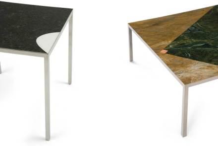Dem fügt der Designer andere geometrische Formen hinzu, langgezogene Flächen wie Linien oder Parabeln und Dreiecke.