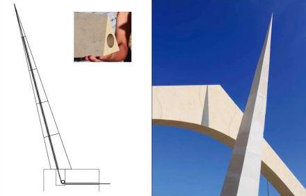 Solch eine gespannte Konstruktion kommt auch bei dem schiefen Obelisk zum Einsatz. Er könnte zum Beispiel als Zeiger einer Sonnenuhr dienen.