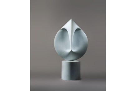 "Santiago Calatrava: ""Untitled (no. 201)"", 2012, Bianco P marble, edition of 3, 112 x 19 1/2 x 19 1/2 in. (284.5 x 49.5 x 49.5 cm). Photo: Santiago Calatrava, Courtesy Marlborough Gallery, New York."