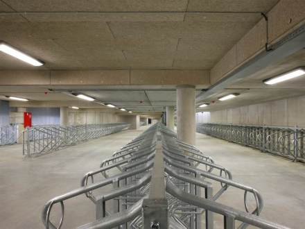Parking area for some 5,000 bicycles was also provided. One of the design challenges was keeping the flow of traffic separate.