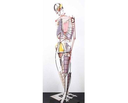 "Erich Smodics: ""Kontrapost"", Kiefer, Sperrholz, Japanpapier, 185x65x50 cm."
