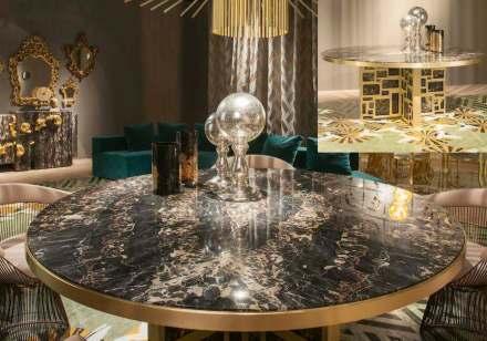 """Na mesa """"Petersburg"""" foi empregado mármore Portoro em dois tempos: por um lado, na placa de um arranjo espelhado, e por outro, nos pés do móvel."""
