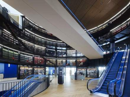 The construction is most impressive in those stories where bookshelves reach right up to the escalators: the impression is futuristic giving some the impression of travel via teleportation through space and time.