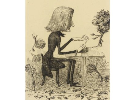 Caricature of Franz Liszt at the wooden piano (around 1845). Source: Wikimedia Commons