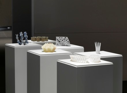 "Raffaello Galiotto: ""Catenata"", ""Corallo"", ""Corona"", ""Madrepora"", ""Porifera"", ""Serpentina"". These small marble objects are made exclusively using 3D waterjet abrasive cutting technology. The particularity of these works lies in the complexity of their forms, obtained by following appropriate computer created cutting paths. The machine, thanks to these inclined, incident, multiple and overlapping cuts, is able to produce unexpected curved and perforated three-dimensional solids. Each of these small works investigates and expresses a different geometric problem that is inextricably linked to the specific technology of waterjet cutting. Produced by Budri, Mirandola (MO), Italy; machine by Flow, Bretten, Germany; model machine: Flow Mach3 4020 DynamicXD - Flow Hyperjet Ultra High pressure Pump"