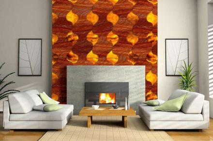 """Laura Camelin, Francesco Visentin: """"Blaze"""". Hinterleuchtete Fliesen, bei denen die Steinfarbe und die Struktur an Feuer erinnern."""