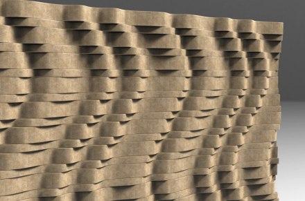 """Elena Fusto, Anna Mastellari: """"Wave Kit Wall"""". Da 4 elementi base si possono formare 40 onde diverse."""