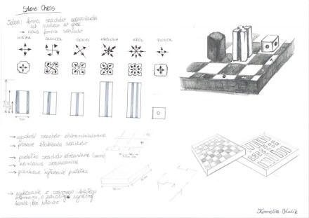 """Kornelia Kulik: """"Kamienne Szachy"""" (Xadrez em rocha). Sobre as peças estão indicados os movimentos possíveis)."""