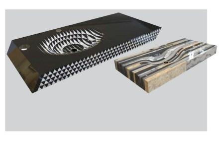 """2. Preis, Kategorie Profis: """"Op"""", Nazmiye ÖZTÜRK. Es handelt sich weniger um ein Produkt als um eine Idee für die Produktion: Stücke von Naturstein werden verklebt, und aus diesem neuen Rohstück wird das neue Produkt herausgearbeitet."""