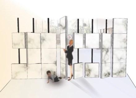 """1er Premio, Categoría Estudiantes: """"Dividewall"""", Hilal KURT. Un separador de ambientes en forma de pared de mármol."""
