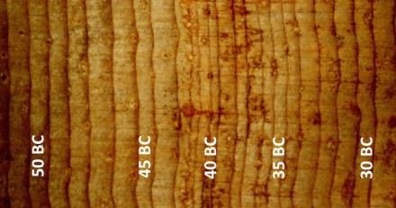 Die schmalen und verdrehten Jahrringe einer langlebigen Borstenkiefer aus Nevada zeigen die extremen Kältesommer nach einem großen Vulkanausbruch im Jahr 44 BC, dem Todesjahr von Julius Caesar.