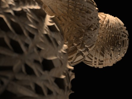 "Digital Lithic Design: ""Glomus"". The challenge faced by this project is the three‐dimensional milling of a complex surface with a continuous tool pass also managed from an aesthetic point of view. As in a ball of wool, comprising a single, continuous thread, in this work the tool rests on the rough surface and takes a long, winding uninterrupted path to process the surface through to finishing without ever losing contact. Design: Raffaello Galiotto, produced by Helios"