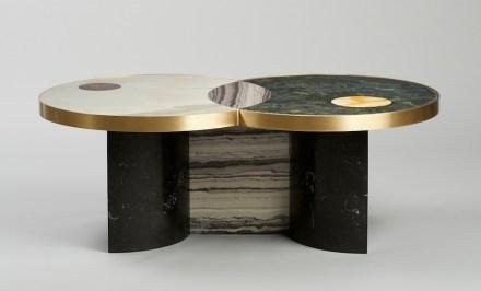 "Lara Bohinc, Lapicida: ""Sun and Moon"", coffee table. Dimensions: L1200 x W700 x H440mm. Price from: £5,995. Marbles featured: Verdi Guatemala, Picasso, Calacatta, Red Wine, Nero Marquinha, Monclair."