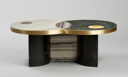 "Lara Bohinc, Lapicida: ""Sun and Moon"", coffee table. Dimensions: L1200 x W700 x H440mm. Price from: £5,995. Marbles featured: Verdi Guatemala, Picasso, Calacatta, Red Wine, Nero Marquinha, Monclair."