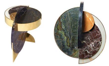"Lara Bohinc, Lapicida: ""Full Moon"", side table. Dimensions: L650 x W650 x H600mm. Price from: £11,250. Marbles featured: Black & Gold, Verdi Guatemala, Picasso, Calacatta, Red Wine."