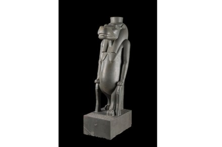 The goddess Thoueris, Egyptian Museum, Cairo, polished greywacke. The statue dates from the 26th dynasty 664-525 B.C.), and shows the goddess as a hippopotamus standing on lion's paws; her drooping breasts and rounded belly symbolize maternity and fecundity. She was the goddess who lived in the Nile, associated to the black silt fertilizing the earth. The goddess, a form of Nut, was the universal mother of Osiris.