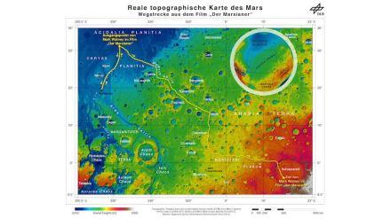 """Der Weg des """"Marsianers"""": Von Chryse Planitia über Arabia Terra zum Marshochland mit der Rettungsrakete. Bild: DLR"""