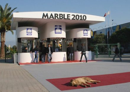 """Does natural stone attract animals? Stray dog at the main entrance of """"Marble"""" Fair in Izmir, Turkey, 2010, early in the morning."""