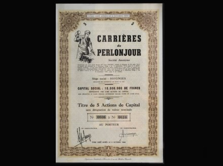 Titolo azionario della ditta francese Carrières du Perlonjour (1913).