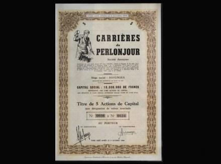 Acción de la empresa francesa Carrières du Perlonjour (1913).