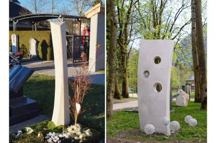 Two first prizes were awarded: one for Elijah (by stonemason Raimund Fuchs). Completing the Jurassic limestone resting place, three more in wood share space in the garden of the deceased. The gravestone on the photo (right) draws attention through its twist (Ernestine Lehrer, Norbert and Werner Kienesberger); ...
