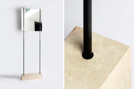"""Den Titel """"Reflexion"""" gaben Ulysse Martel und Milos Ristin ihrem Spiegel mit einem Fuß aus Kalkstein. <a href="""" http://novgallery.com """"target=""""_blank"""">NOV Gallery</a>. Spazio Rossana Orlandi."""