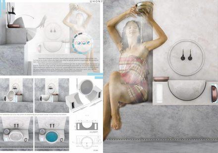Professional designers, Turkish bath and bathroom, First Prize: Sibel Kılıç.