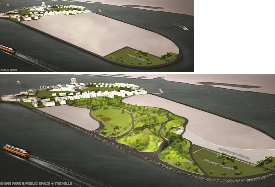 Redevelopment of Governors Island: stone blocks from the former