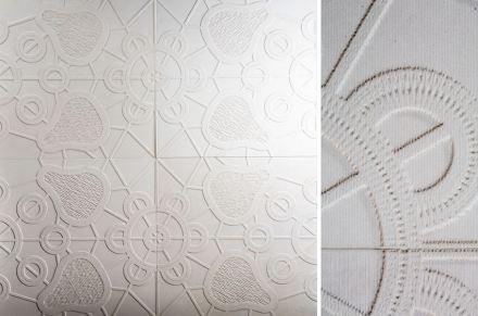 """Marella Ferrera, Lithea: """"Centrini"""". Bianco Fenice marble."""