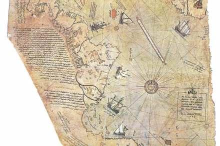 La mappa di Piri Reis in originale (dettaglio). Fonte: Wikimedia Commons