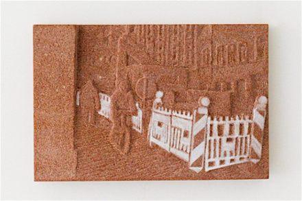 """Rosa Brunner: """"Bauzaun"""" (Cercado de Construção), políptico de cinco peças, cada uma de 20 x 30 cm, Arenito."""